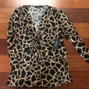 NWT Chaus 3/4 sleeve animal print top